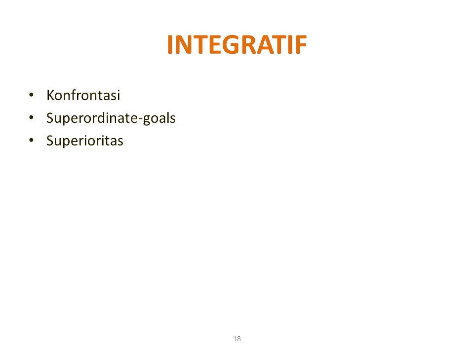 18 INTEGRATIF Konfrontasi Superordinate-goals Superioritas
