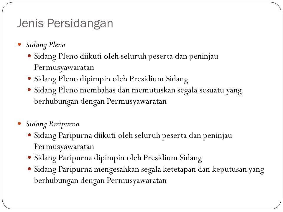 Jenis Persidangan Sidang Pleno Sidang Pleno diikuti oleh seluruh peserta dan peninjau Permusyawaratan Sidang Pleno dipimpin oleh Presidium Sidang Sida