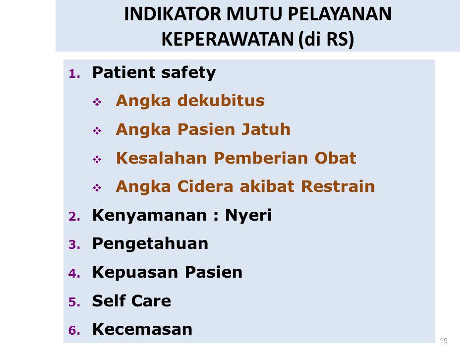 19 INDIKATOR MUTU PELAYANAN KEPERAWATAN (di RS) 1. Patient safety  Angka dekubitus  Angka Pasien Jatuh  Kesalahan Pemberian Obat  Angka Cidera aki