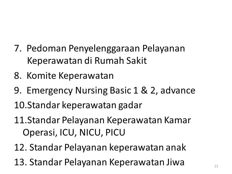 7.Pedoman Penyelenggaraan Pelayanan Keperawatan di Rumah Sakit 8.