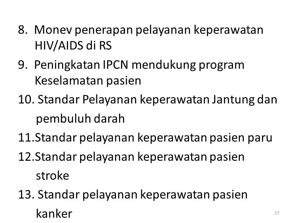 8. Monev penerapan pelayanan keperawatan HIV/AIDS di RS 9. Peningkatan IPCN mendukung program Keselamatan pasien 10. Standar Pelayanan keperawatan Jan
