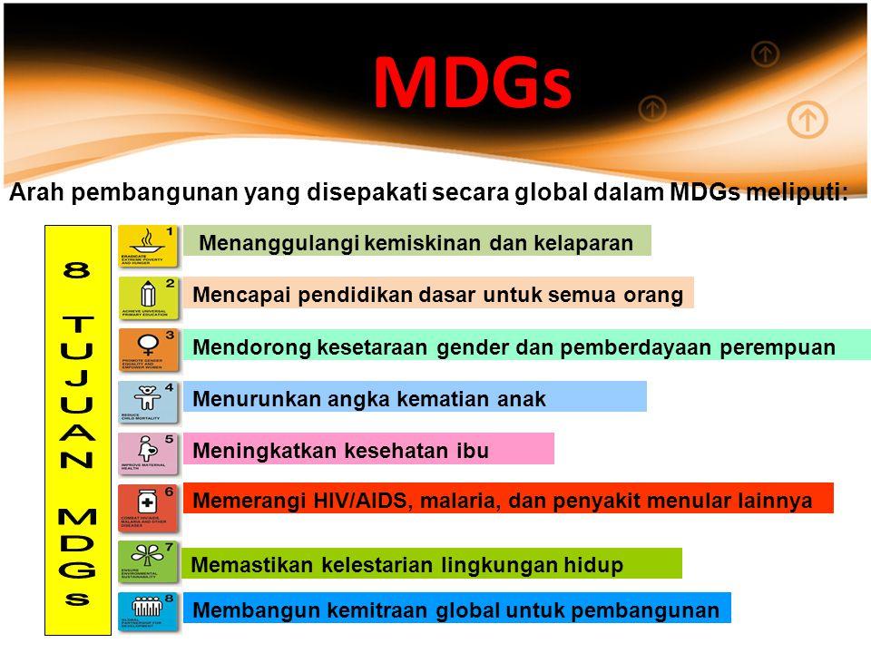 MDGs Arah pembangunan yang disepakati secara global dalam MDGs meliputi: Menanggulangi kemiskinan dan kelaparan Mencapai pendidikan dasar untuk semua