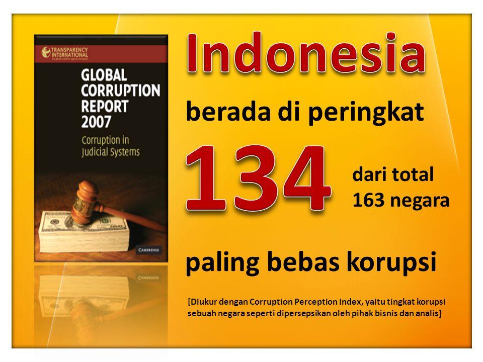 berada di peringkat dari total 163 negara paling bebas korupsi [Diukur dengan Corruption Perception Index, yaitu tingkat korupsi sebuah negara seperti