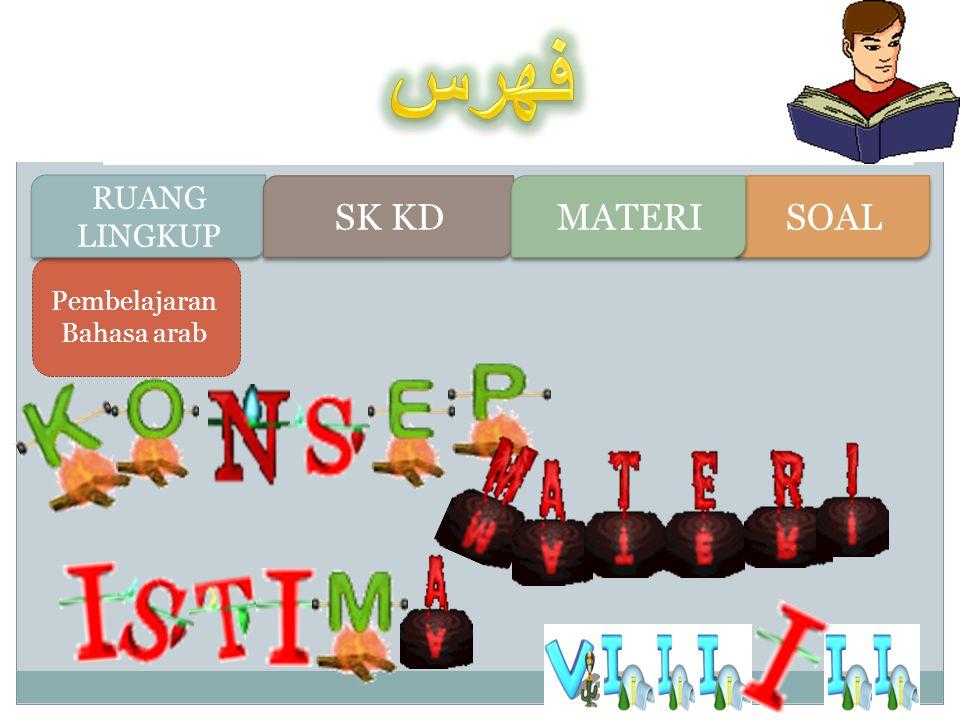 Pembelajaran Bahasa arab RUANG LINGKUP RUANG LINGKUP SK KD SOAL MATERI