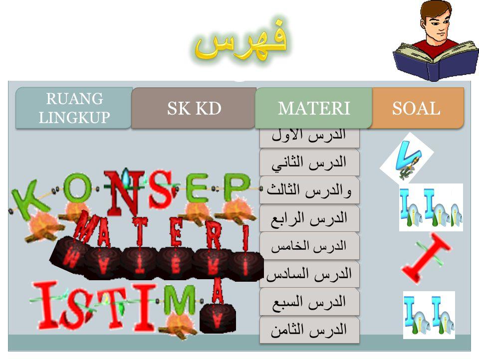 الدرس الثاني الدرس الثاني الدرس الأول الدرس الأول الدرس الرابع الدرس الرابع والدرس الثالث والدرس الثالث الدرس السادس الدرس السادس الدرس الخامس الدرس الخامس الدرس الثامن الدرس الثامن الدرس السبع الدرس السبع RUANG LINGKUP RUANG LINGKUP SK KD SOAL MATERI