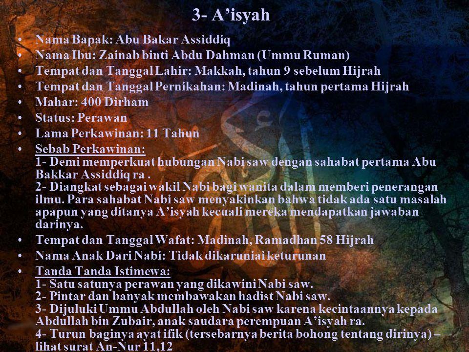 3- A'isyah Nama Bapak: Abu Bakar Assiddiq Nama Ibu: Zainab binti Abdu Dahman (Ummu Ruman) Tempat dan Tanggal Lahir: Makkah, tahun 9 sebelum Hijrah Tem