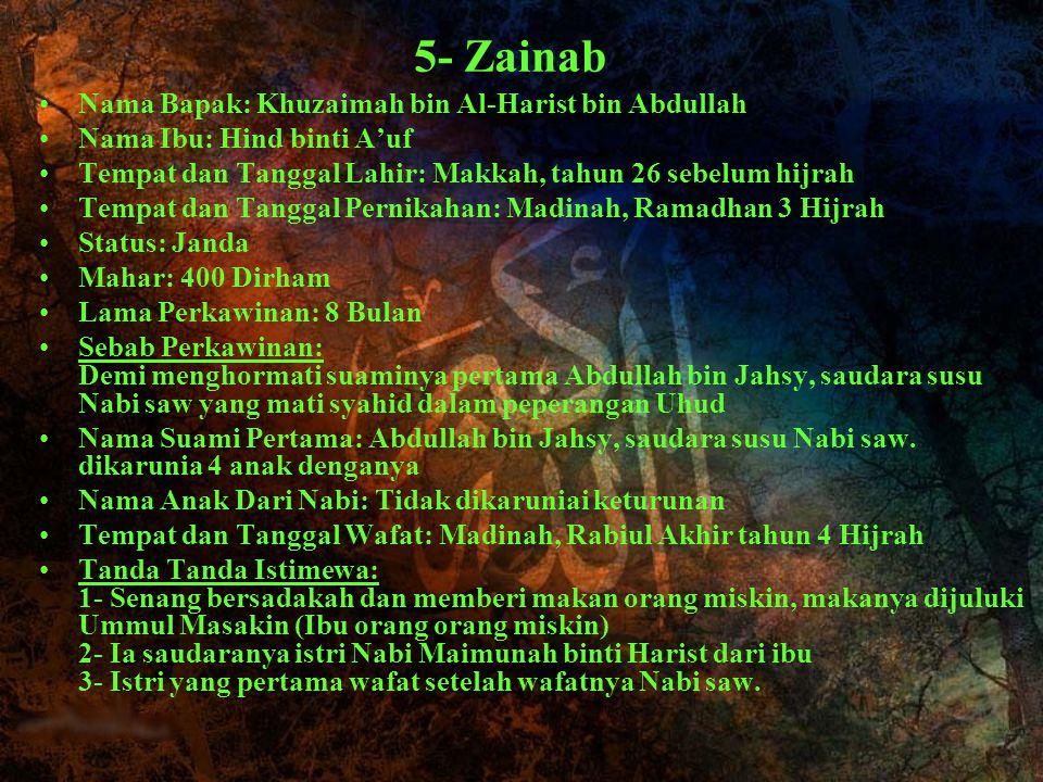 5- Zainab Nama Bapak: Khuzaimah bin Al-Harist bin Abdullah Nama Ibu: Hind binti A'uf Tempat dan Tanggal Lahir: Makkah, tahun 26 sebelum hijrah Tempat