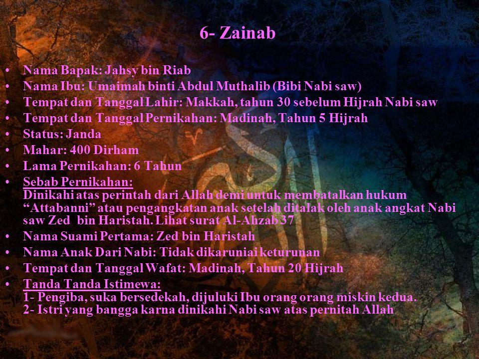6- Zainab Nama Bapak: Jahsy bin Riab Nama Ibu: Umaimah binti Abdul Muthalib (Bibi Nabi saw) Tempat dan Tanggal Lahir: Makkah, tahun 30 sebelum Hijrah