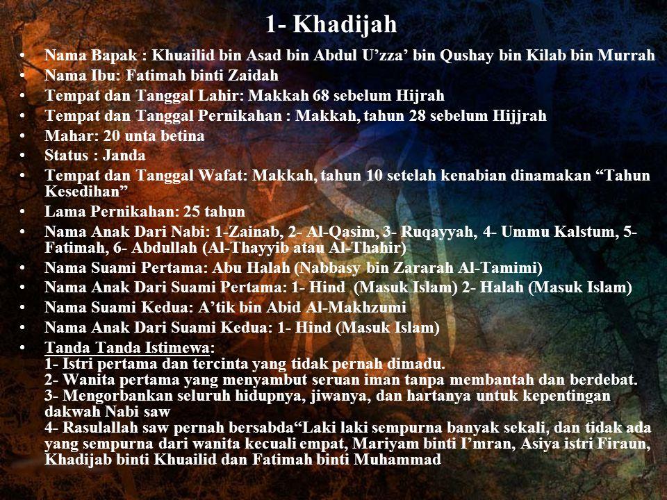 1- Khadijah Nama Bapak : Khuailid bin Asad bin Abdul U'zza' bin Qushay bin Kilab bin Murrah Nama Ibu: Fatimah binti Zaidah Tempat dan Tanggal Lahir: M