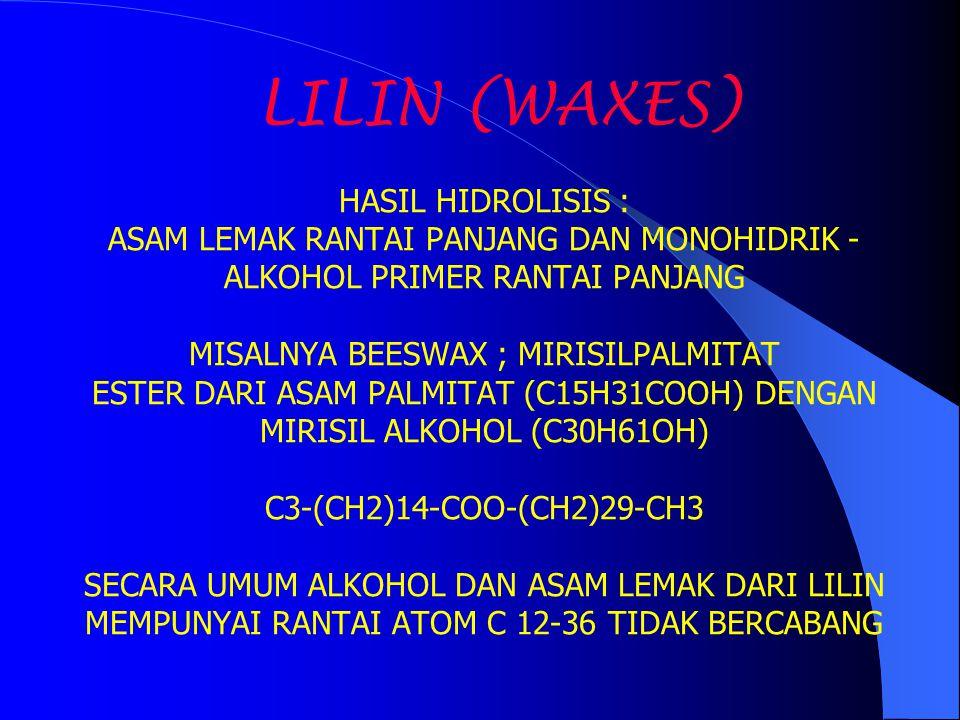 LILIN (WAXES) HASIL HIDROLISIS : ASAM LEMAK RANTAI PANJANG DAN MONOHIDRIK - ALKOHOL PRIMER RANTAI PANJANG MISALNYA BEESWAX ; MIRISILPALMITAT ESTER DAR