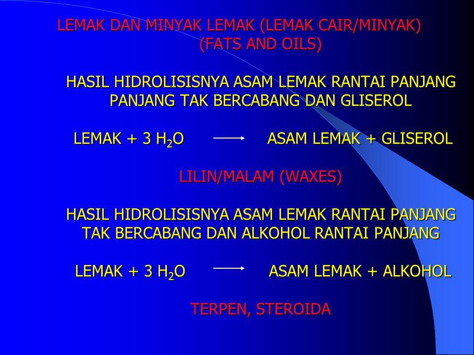 LEMAK DAN MINYAK SECARA KIMIA LEMAK DAN MINYAK MERUPAKAN DERIVAT ESTER ASAM KARBOKSILAT DENGAN ALKOHOL SEDERHANA – GLISEROL, DISEBUT GLISERIDA (TRIGLISERIDA ; TRIGLISEROL) LEMAK HEWANI (ANIMAL FATS) - LEMAK SAPI - LEMAK BABI MINYAK NABATI (VEGETABLE OILS) - MINYAK JAGUNG - MINYAK KELAPA - MINYAK KELAPA SAWIT - MINYAK BUNGA MATAHARI MINYAK IKAN (MARINE OILS) LEMAK DAN MINYAK SECARA KIMIA LEMAK DAN MINYAK MERUPAKAN DERIVAT ESTER ASAM KARBOKSILAT DENGAN ALKOHOL SEDERHANA – GLISEROL, DISEBUT GLISERIDA (TRIGLISERIDA ; TRIGLISEROL) LEMAK HEWANI (ANIMAL FATS) - LEMAK SAPI - LEMAK BABI MINYAK NABATI (VEGETABLE OILS) - MINYAK JAGUNG - MINYAK KELAPA - MINYAK KELAPA SAWIT - MINYAK BUNGA MATAHARI MINYAK IKAN (MARINE OILS)