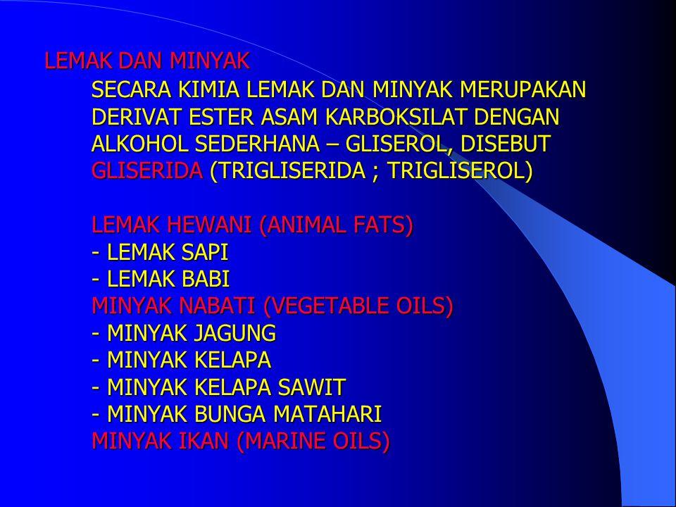 FUNGSI LEMAK DAN MINYAK BAHAN MAKANAN - KARBOHIDRAT (1 gram setara 4 kkal) - PROTEIN (5 kkal) - LEMAK (9 kkal) CADANGAN ENERGI MEMPERTAHANKAN TEMPERATUR TUBUH BAHAN DASAR INDUSTRI (40 JUTA TON/TAHUN) - SABUN/DETERGEN - CAT/PERNIS - TINTA CETAK/SEMIR - GLISEROL - PELUMAS - KOSMETIK - FARMASI FUNGSI LEMAK DAN MINYAK BAHAN MAKANAN - KARBOHIDRAT (1 gram setara 4 kkal) - PROTEIN (5 kkal) - LEMAK (9 kkal) CADANGAN ENERGI MEMPERTAHANKAN TEMPERATUR TUBUH BAHAN DASAR INDUSTRI (40 JUTA TON/TAHUN) - SABUN/DETERGEN - CAT/PERNIS - TINTA CETAK/SEMIR - GLISEROL - PELUMAS - KOSMETIK - FARMASI