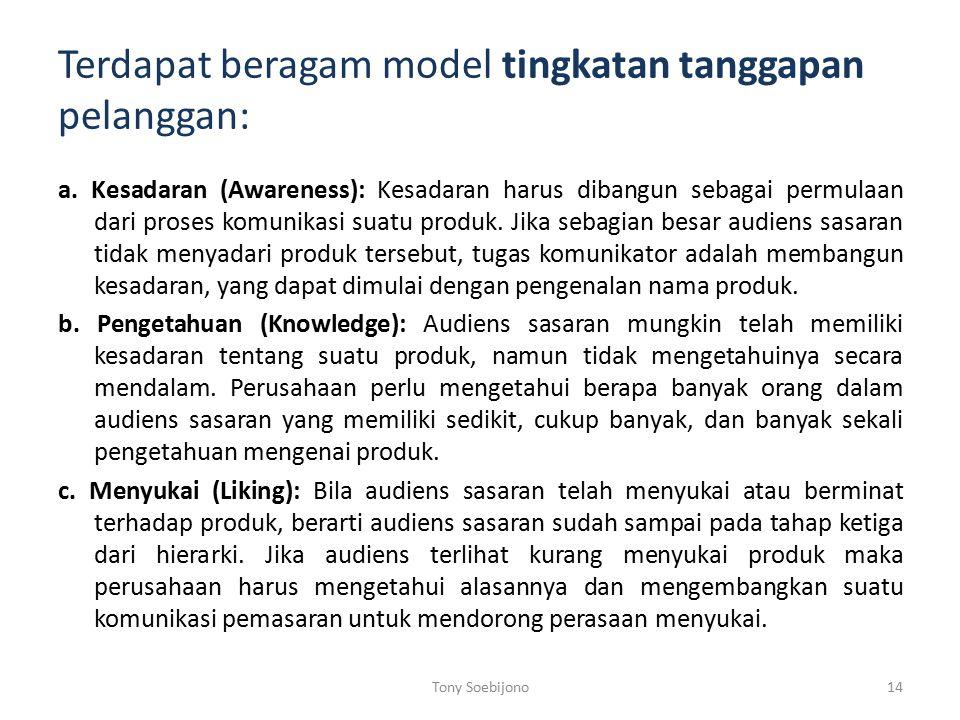 Terdapat beragam model tingkatan tanggapan pelanggan: a.