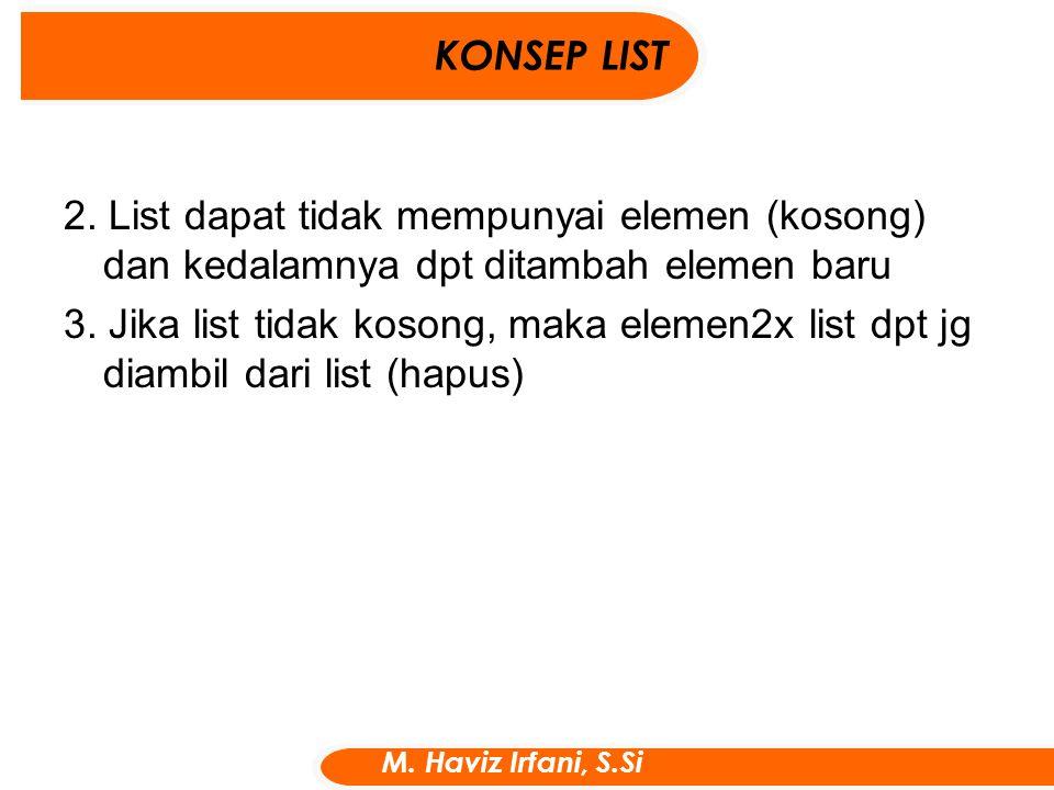 KONSEP LIST M. Haviz Irfani, S.Si 2. List dapat tidak mempunyai elemen (kosong) dan kedalamnya dpt ditambah elemen baru 3. Jika list tidak kosong, mak