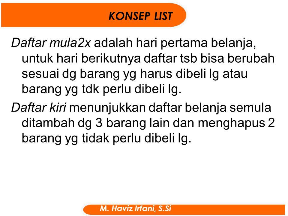 Daftar mula2x adalah hari pertama belanja, untuk hari berikutnya daftar tsb bisa berubah sesuai dg barang yg harus dibeli lg atau barang yg tdk perlu