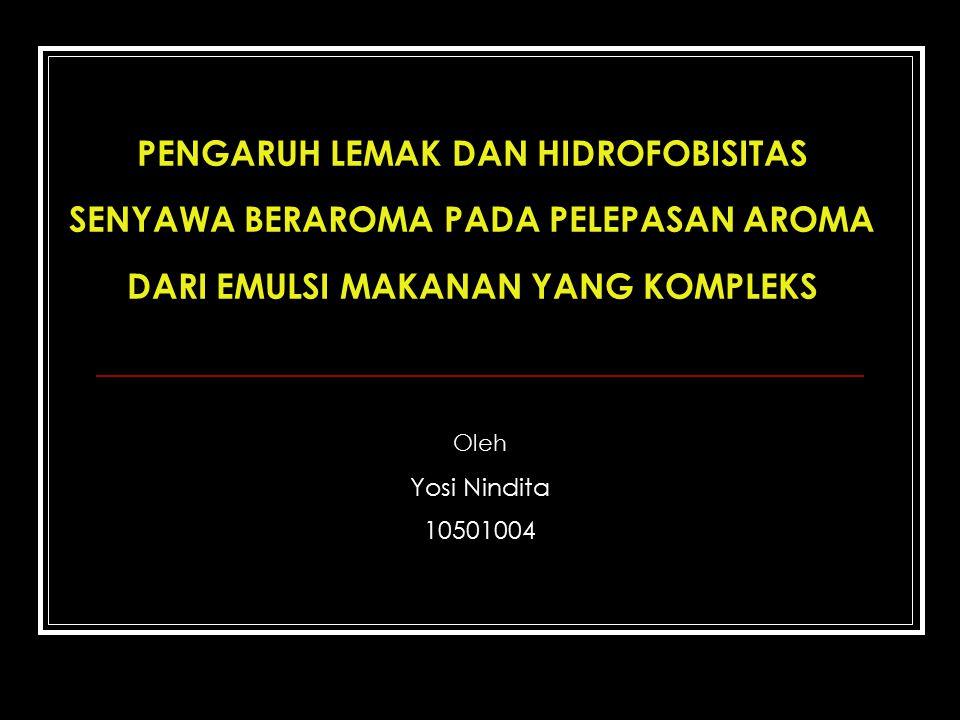 Hidrofobik Afinitas tinggi terhadap lemak tekanan uap rendah Aroma makanan
