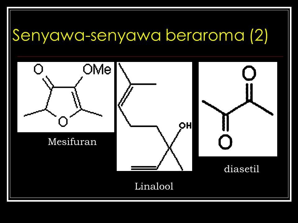 Senyawa-senyawa beraroma (2) Mesifuran Linalool diasetil