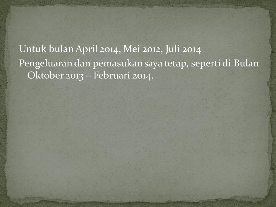 Untuk bulan April 2014, Mei 2012, Juli 2014 Pengeluaran dan pemasukan saya tetap, seperti di Bulan Oktober 2013 – Februari 2014.