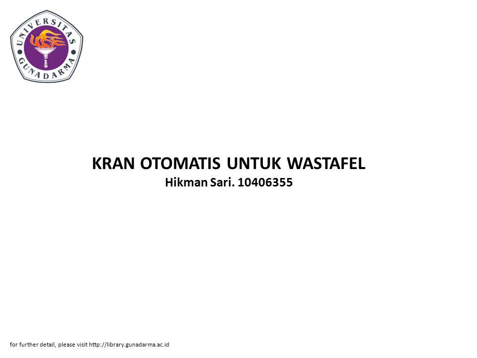 KRAN OTOMATIS UNTUK WASTAFEL Hikman Sari.