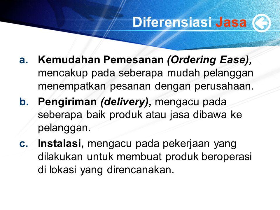 Diferensiasi Jasa a.Kemudahan Pemesanan (Ordering Ease), mencakup pada seberapa mudah pelanggan menempatkan pesanan dengan perusahaan. b.Pengiriman (d