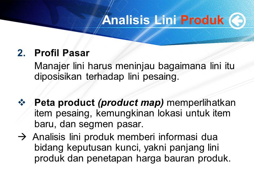 Analisis Lini Produk 2.Profil Pasar Manajer lini harus meninjau bagaimana lini itu diposisikan terhadap lini pesaing.  Peta product (product map) mem