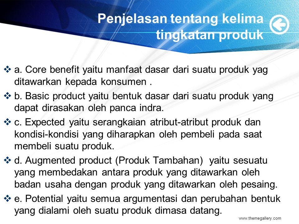 Penjelasan tentang kelima tingkatan produk  a. Core benefit yaitu manfaat dasar dari suatu produk yag ditawarkan kepada konsumen.  b. Basic product