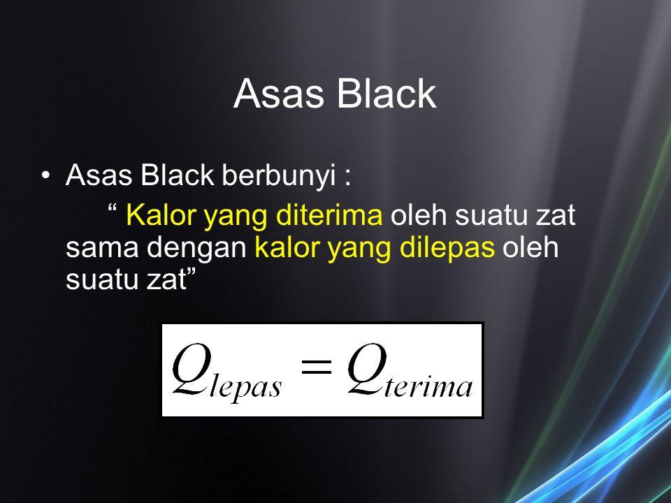 """Asas Black Asas Black berbunyi : """" Kalor yang diterima oleh suatu zat sama dengan kalor yang dilepas oleh suatu zat"""""""