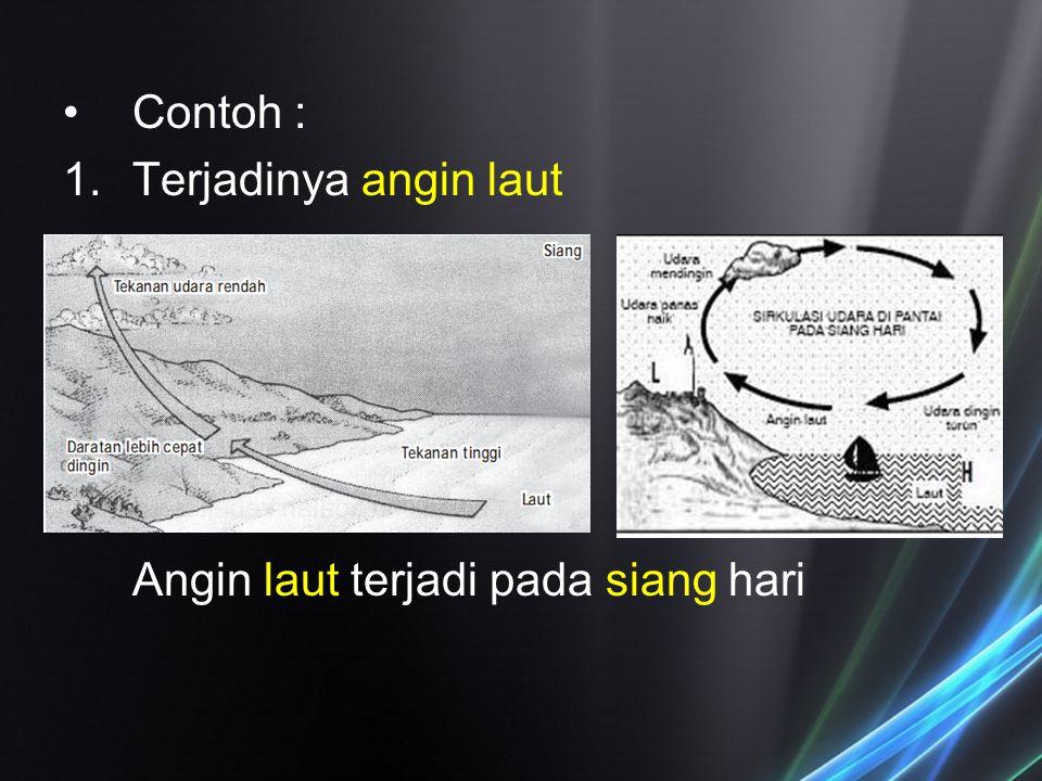 Contoh : 1.Terjadinya angin laut Angin laut terjadi pada siang hari