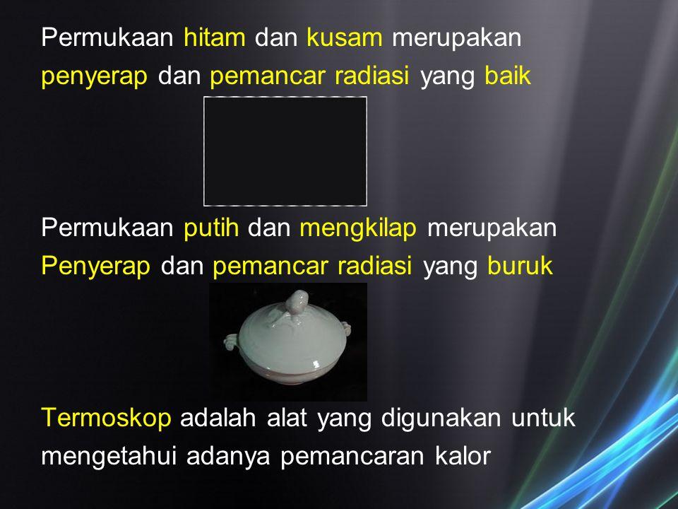 Permukaan hitam dan kusam merupakan penyerap dan pemancar radiasi yang baik Permukaan putih dan mengkilap merupakan Penyerap dan pemancar radiasi yang