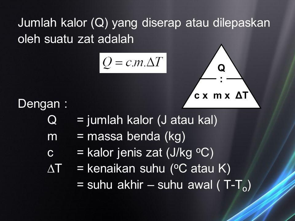 Jumlah kalor (Q) yang diserap atau dilepaskan oleh suatu zat adalah Dengan : Q= jumlah kalor (J atau kal) m= massa benda (kg) c = kalor jenis zat (J/k