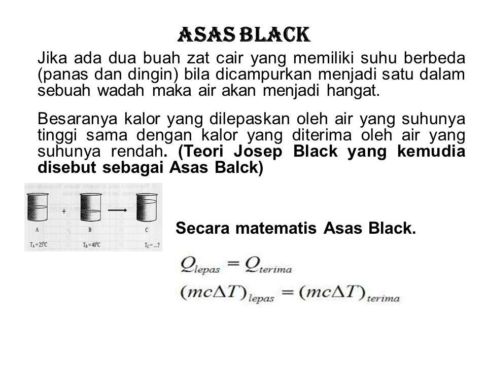 Asas Black Jika ada dua buah zat cair yang memiliki suhu berbeda (panas dan dingin) bila dicampurkan menjadi satu dalam sebuah wadah maka air akan menjadi hangat.