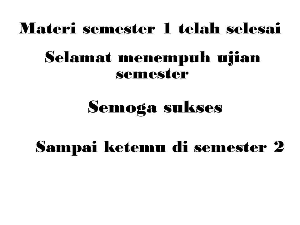 Materi semester 1 telah selesai Selamat menempuh ujian semester Semoga sukses Sampai ketemu di semester 2