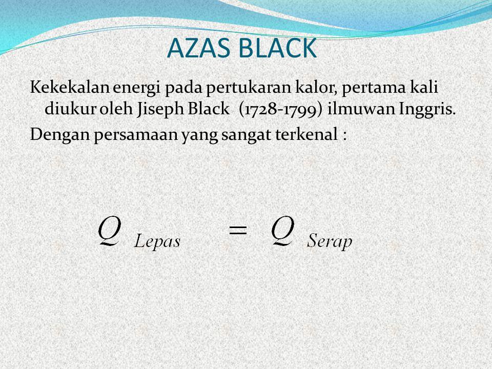 AZAS BLACK Kekekalan energi pada pertukaran kalor, pertama kali diukur oleh Jiseph Black (1728-1799) ilmuwan Inggris. Dengan persamaan yang sangat ter