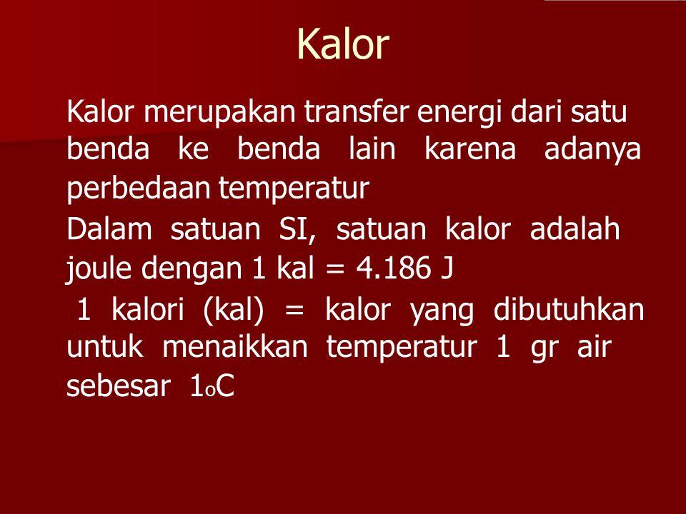 Kalor Kalor merupakan transfer energi dari satu benda ke benda lain karena adanya perbedaan temperatur Dalam satuan SI, satuan kalor adalah joule deng