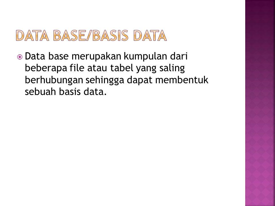  Data base merupakan kumpulan dari beberapa file atau tabel yang saling berhubungan sehingga dapat membentuk sebuah basis data.