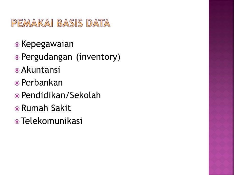  Kepegawaian  Pergudangan (inventory)  Akuntansi  Perbankan  Pendidikan/Sekolah  Rumah Sakit  Telekomunikasi