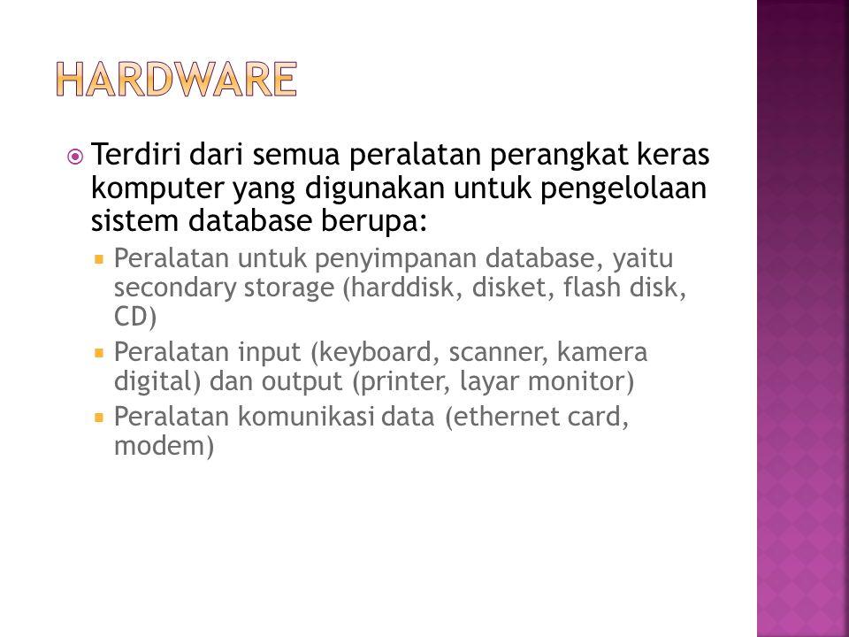  Terdiri dari semua peralatan perangkat keras komputer yang digunakan untuk pengelolaan sistem database berupa:  Peralatan untuk penyimpanan databas