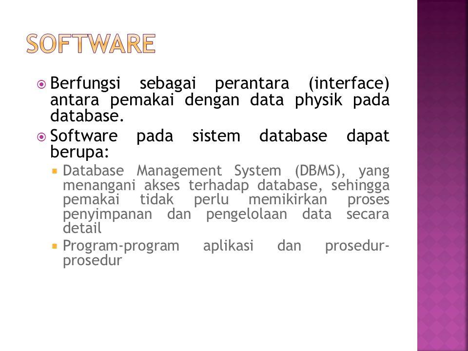  Berfungsi sebagai perantara (interface) antara pemakai dengan data physik pada database.  Software pada sistem database dapat berupa:  Database Ma