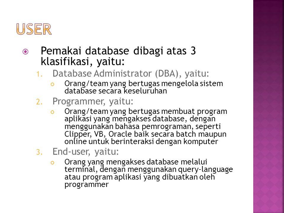  Pemakai database dibagi atas 3 klasifikasi, yaitu: 1. Database Administrator (DBA), yaitu: Orang/team yang bertugas mengelola sistem database secara