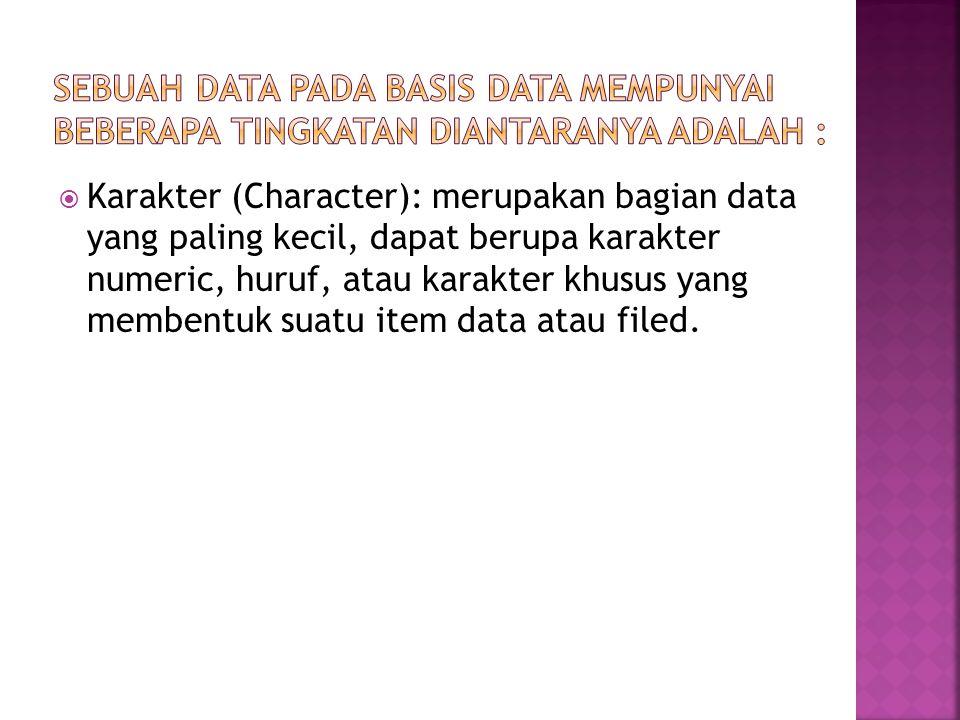  Karakter (Character): merupakan bagian data yang paling kecil, dapat berupa karakter numeric, huruf, atau karakter khusus yang membentuk suatu item