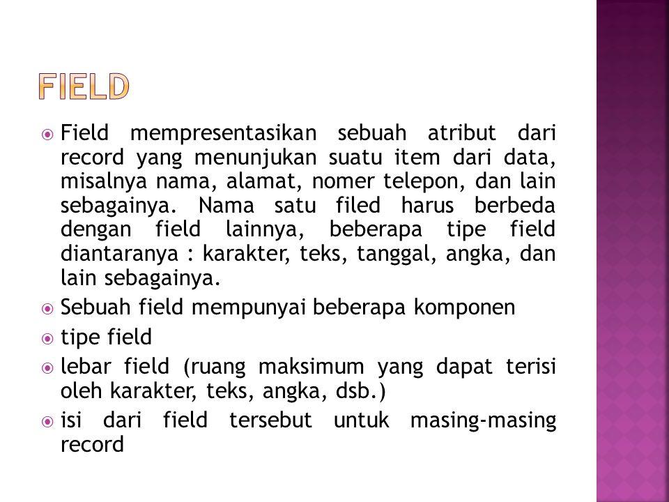  Pelengkap data yang ada pada masing-masing field, sehingga dapat memberikan sebuah informasi terhadap sebuah item dalam basis data.