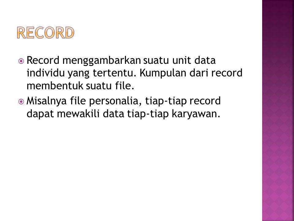  Record menggambarkan suatu unit data individu yang tertentu. Kumpulan dari record membentuk suatu file.  Misalnya file personalia, tiap-tiap record