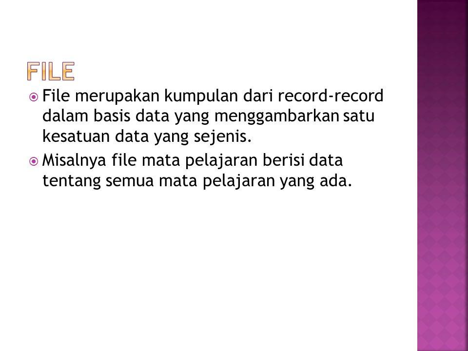  File merupakan kumpulan dari record-record dalam basis data yang menggambarkan satu kesatuan data yang sejenis.  Misalnya file mata pelajaran beris