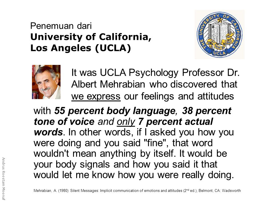 Penemuan dari University of California, Los Angeles (UCLA) with 55 percent body language, 38 percent tone of voice and only 7 percent actual words.