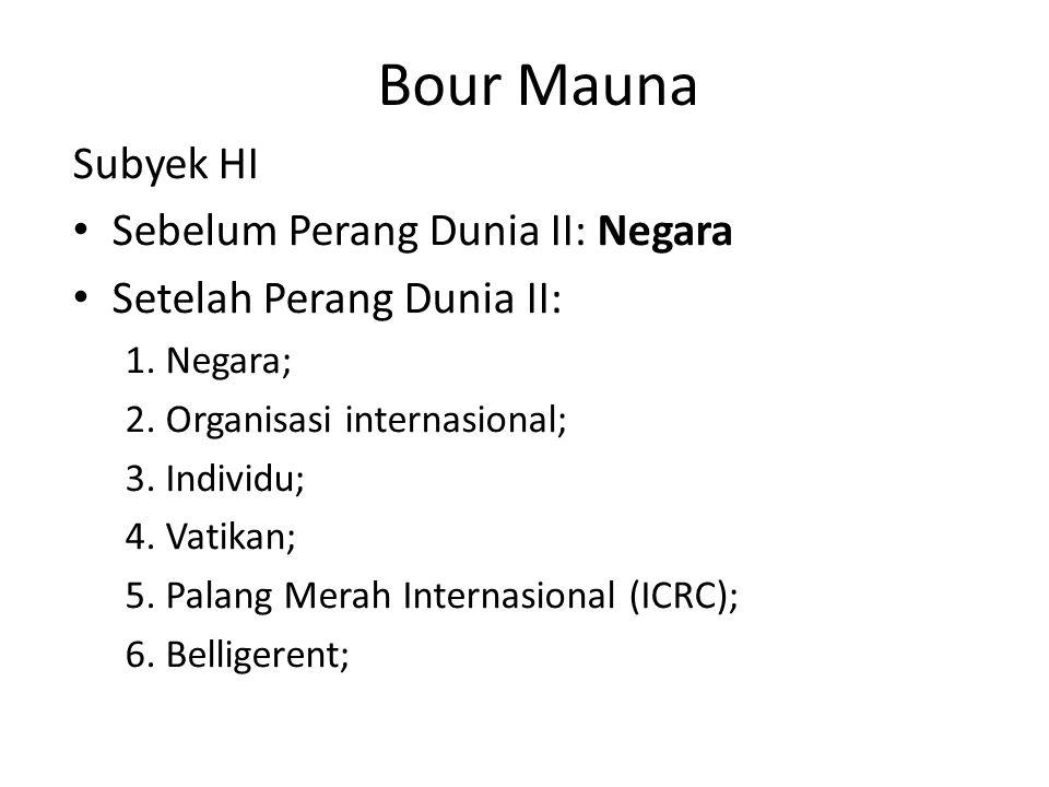 Bour Mauna Subyek HI Sebelum Perang Dunia II: Negara Setelah Perang Dunia II: 1. Negara; 2. Organisasi internasional; 3. Individu; 4. Vatikan; 5. Pala