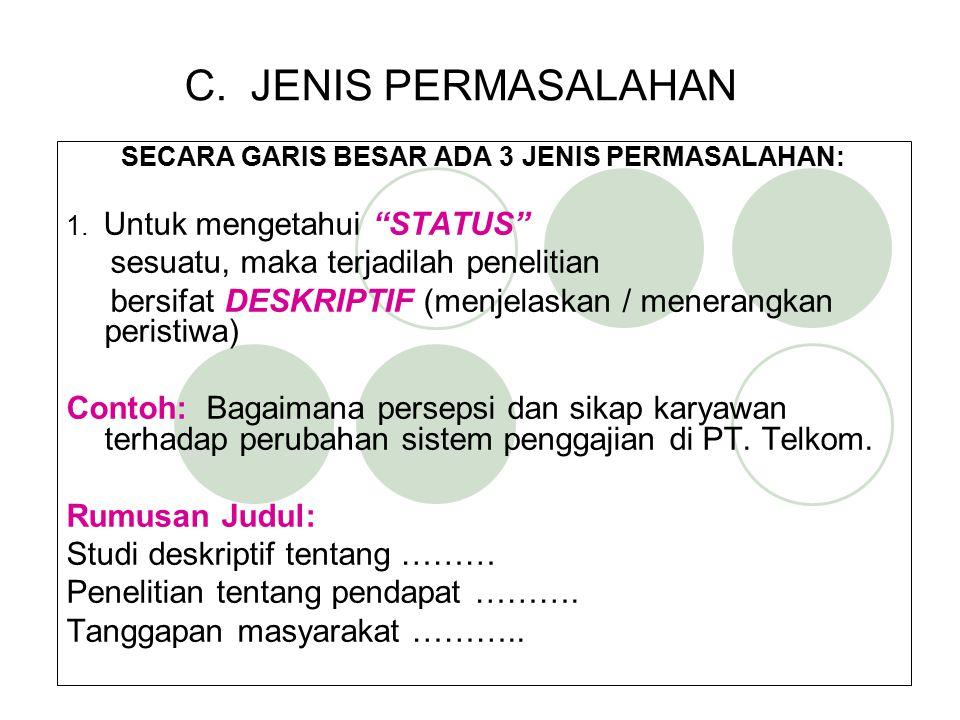 """C. JENIS PERMASALAHAN SECARA GARIS BESAR ADA 3 JENIS PERMASALAHAN: 1. Untuk mengetahui """"STATUS"""" sesuatu, maka terjadilah penelitian bersifat DESKRIPTI"""