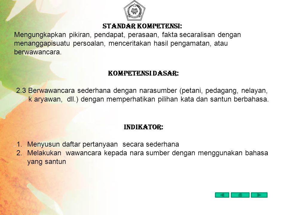 Pokok-pokok Materi Pembelajaran 1.Menyusun daftar pertanyaan secara sederhana 2.Melakukan wawancara kepada nara sumber dengan menggunakan bahasa yang santun