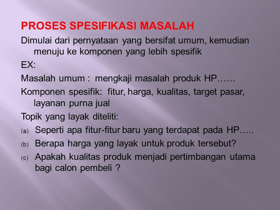PROSES SPESIFIKASI MASALAH Dimulai dari pernyataan yang bersifat umum, kemudian menuju ke komponen yang lebih spesifik EX: Masalah umum : mengkaji mas