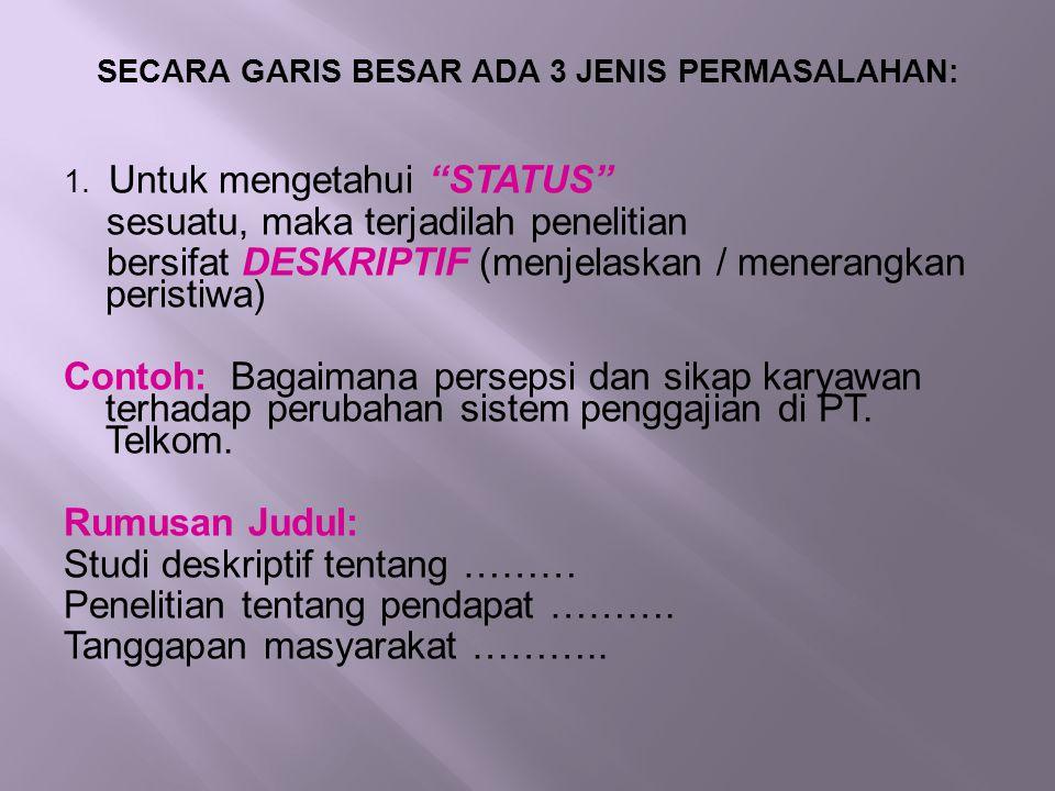 """SECARA GARIS BESAR ADA 3 JENIS PERMASALAHAN: 1. Untuk mengetahui """"STATUS"""" sesuatu, maka terjadilah penelitian bersifat DESKRIPTIF (menjelaskan / mener"""
