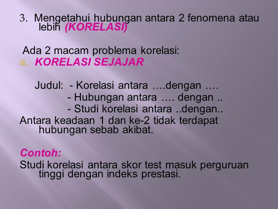 3. Mengetahui hubungan antara 2 fenomena atau lebih (KORELASI) Ada 2 macam problema korelasi: a. KORELASI SEJAJAR Judul: - Korelasi antara ….dengan ….
